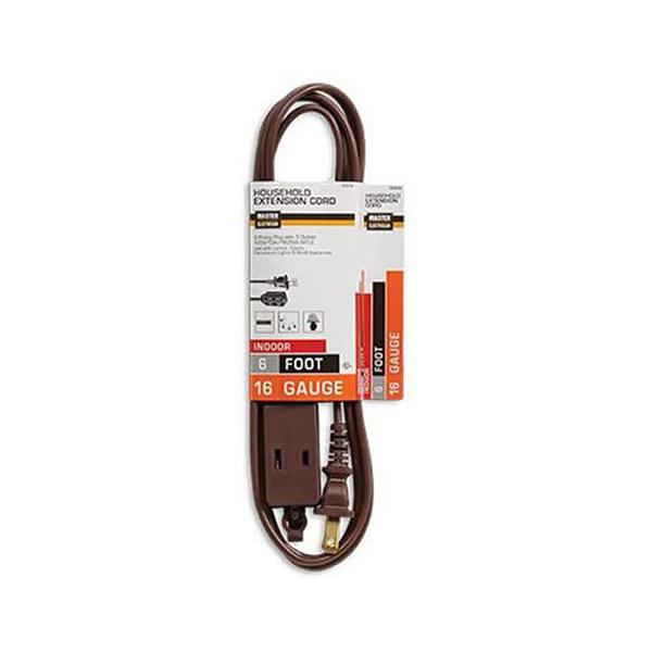 6' 3 Outlet Brown Indoor Extension Cord