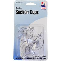3pk Medium Suction Cups with Hooks