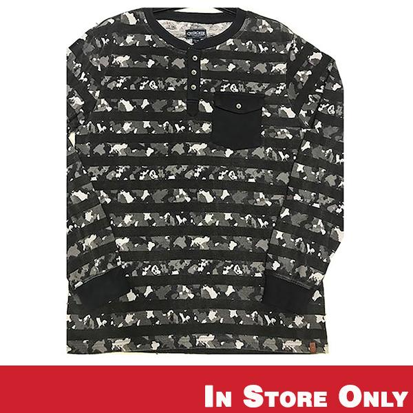 Black and White Camo Thermal Long Sleeve Shirt