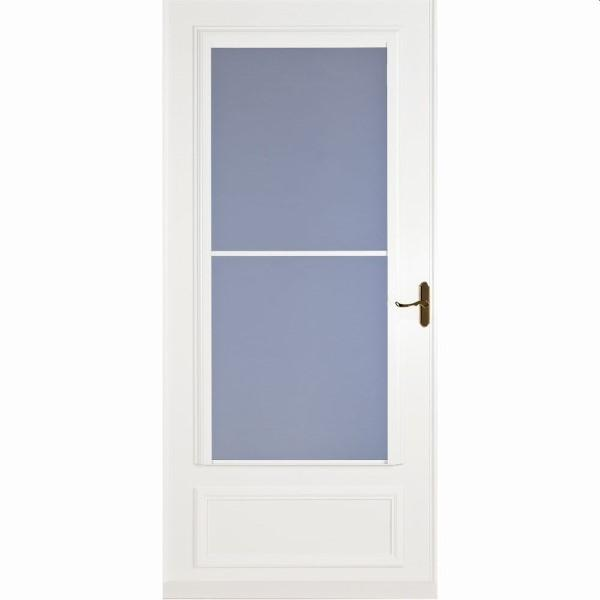 "36"" Mid View Screen Away Storm Door White - Brass Hardware"