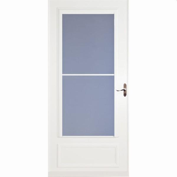 "36"" Mid View Screen Away Storm Door White - Brushed Nickel Hardware"