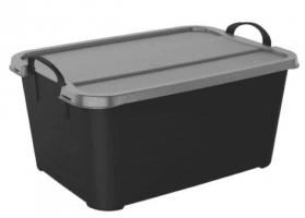 55Qt Black Tote with Silver Lid